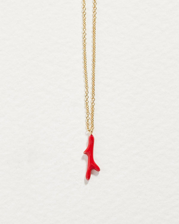 red coral branch pendant