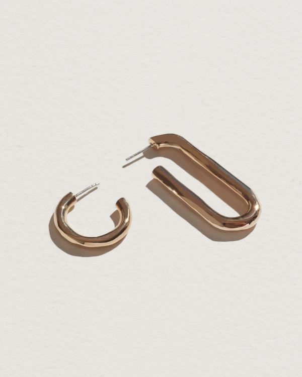 brass deconstruct hoop earrings