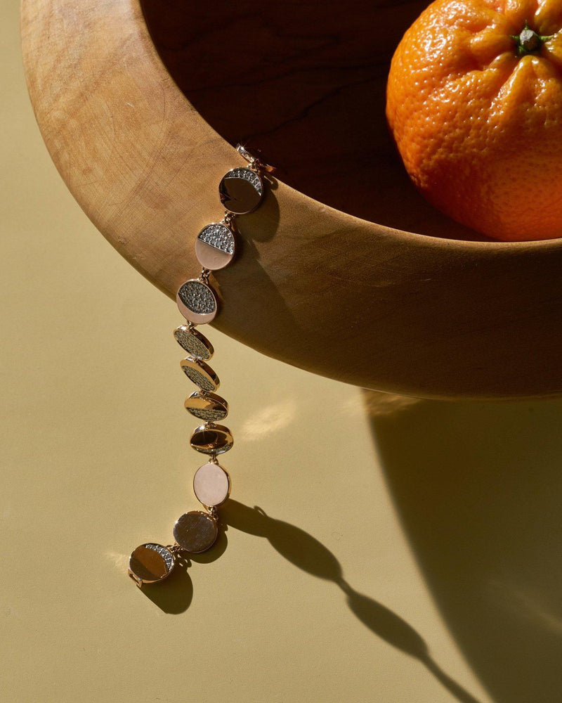 rose gold moon phase bracelet by Pamela Love