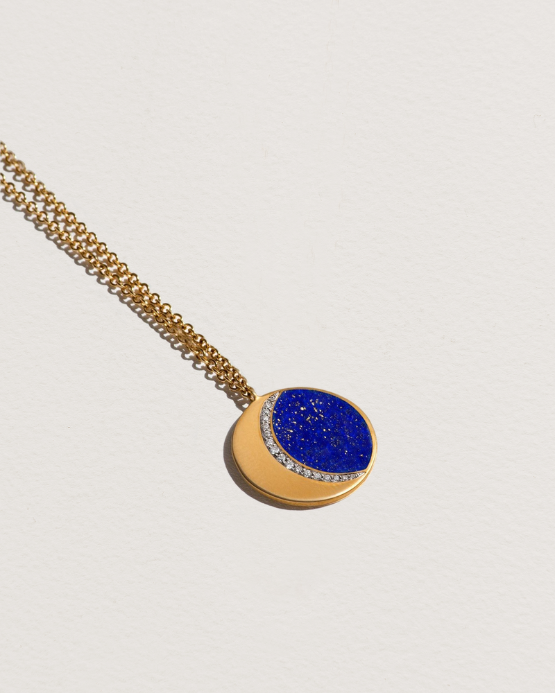 moon phase necklace with lapis lazuli and white diamonds