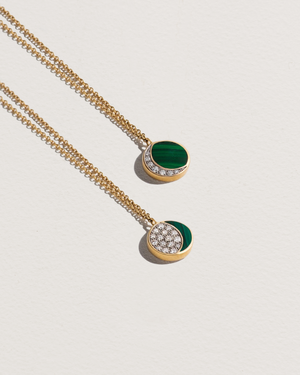 inlay reversible moon phase pendant with 18k gold, diamonds and malachite