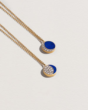 lapis diamond moon phase necklace