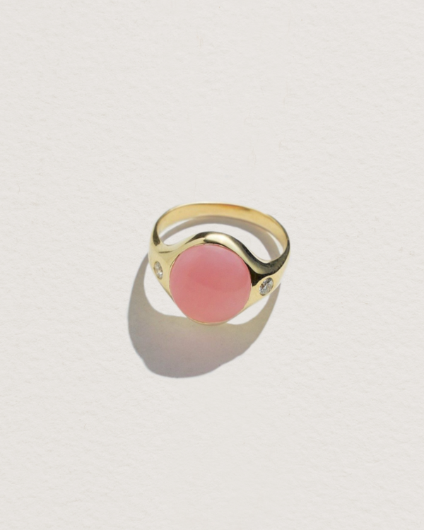 essential ring with pink opal and white topaz