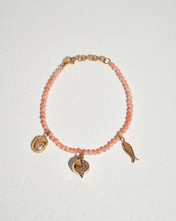 journey bracelet with multi charms and pink opal beads