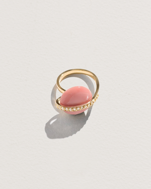 pink opal ring with diamonds
