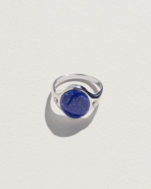 essential ring with sterling silver, lapis and white topaz