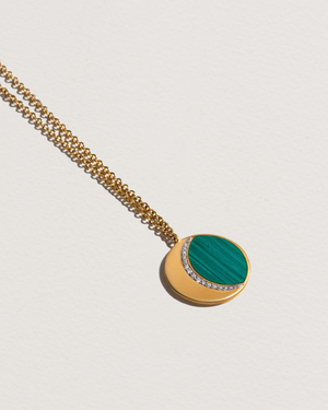 moon phase pendant necklace with malachite and white diamonds