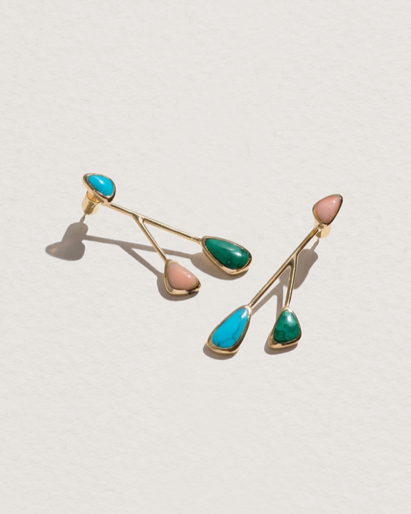 inlay satellite earrings with malachite, turquoise, pink opal