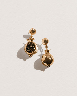 brass pomegranate earrings