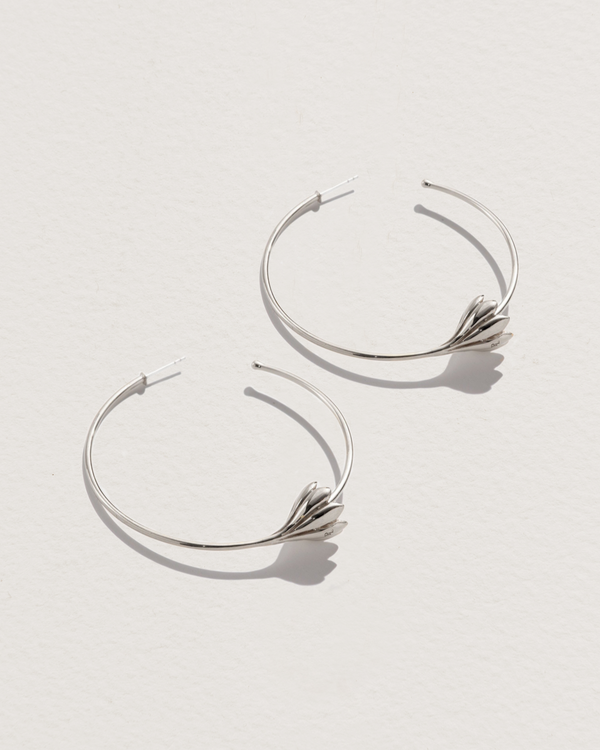 anemone flower hoop earrings with sterling silver