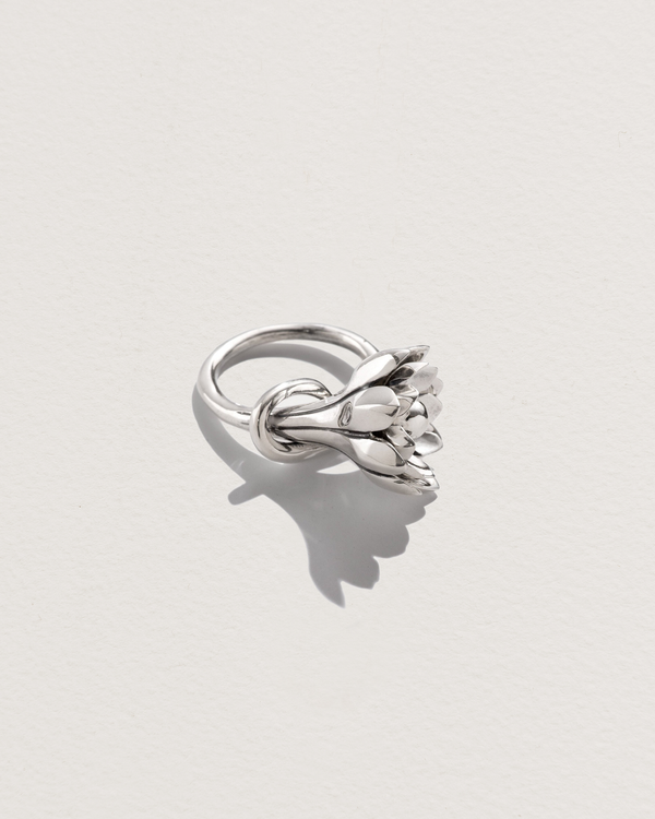 anemone flower ring with sterling silver