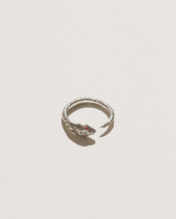 snake ring with sterling silver and ruby eyes