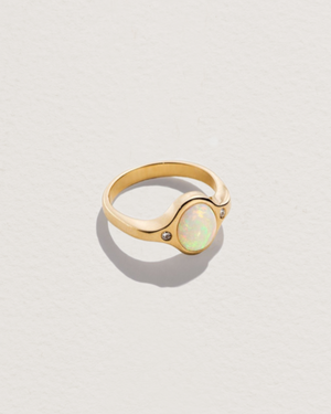 mini essential ring with opal and white diamonds