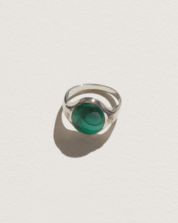 essential ring with sterling silver, malachite and topaz