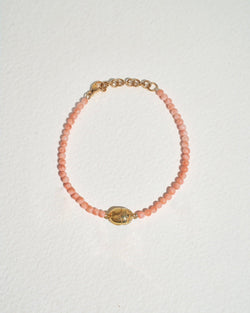 scarab bracelet with pink opal and brass