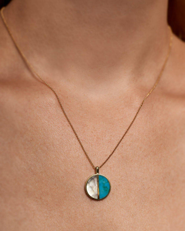half moon pendant necklace on the model