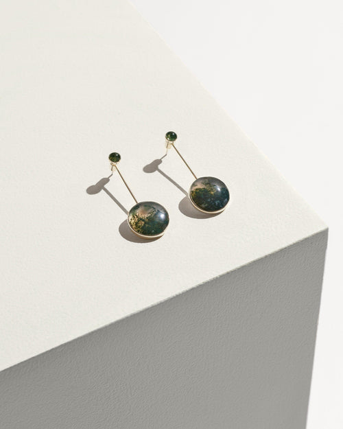 Agnes Earring - Sterling Silver with Green Moss Agate