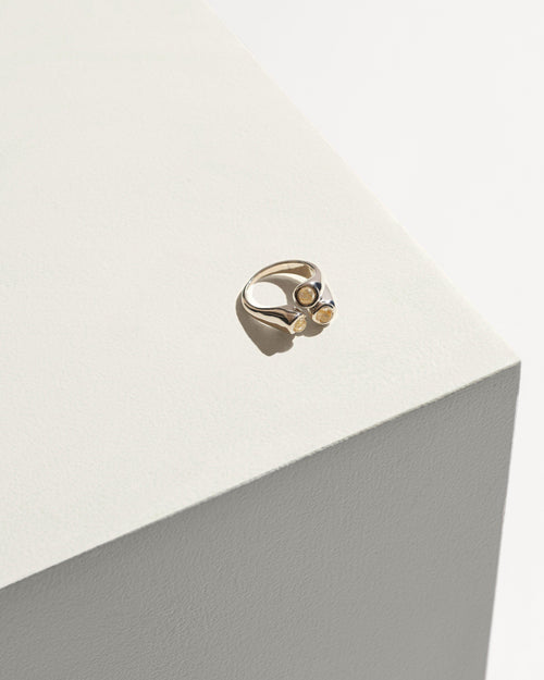Aorta Ring - Sterling Silver with Gold Rutilated Quartz