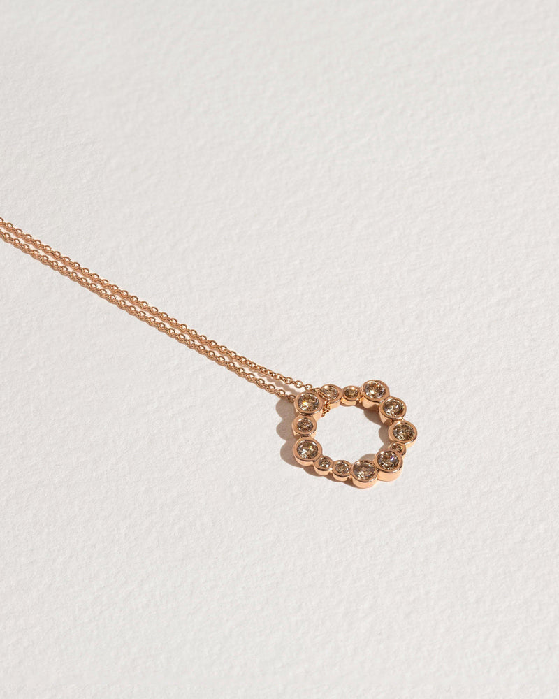 pailette pendant necklace with rose gold and diamonds