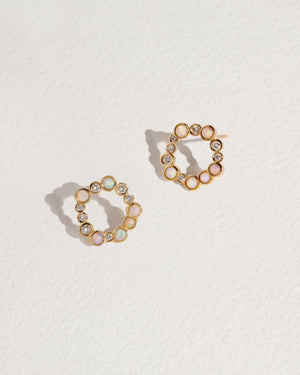 paillette stud earrings with opal and white diamonds