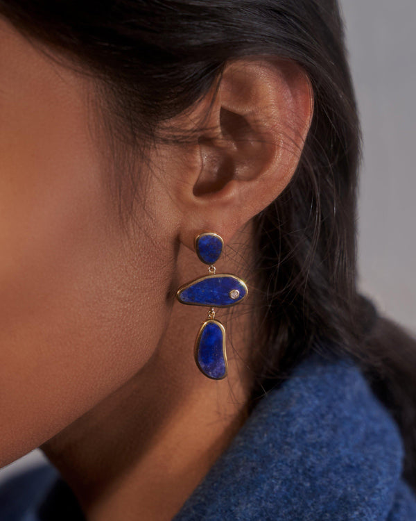 francesca lapis drop earring on the model