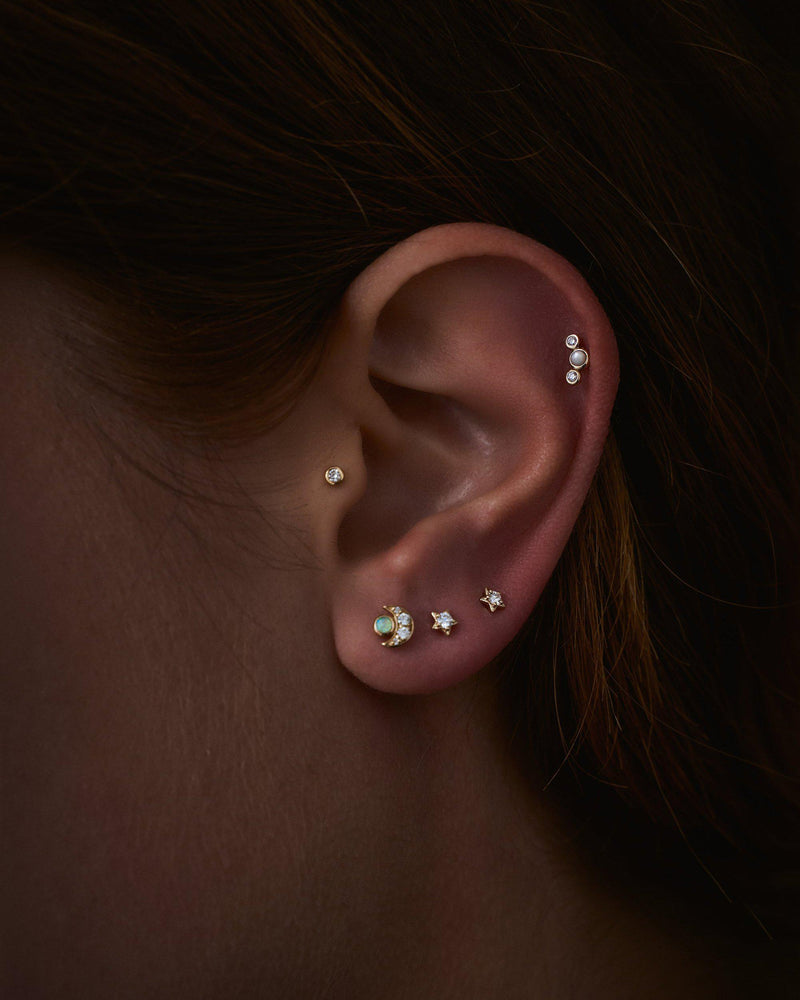 diamond piercings on the model