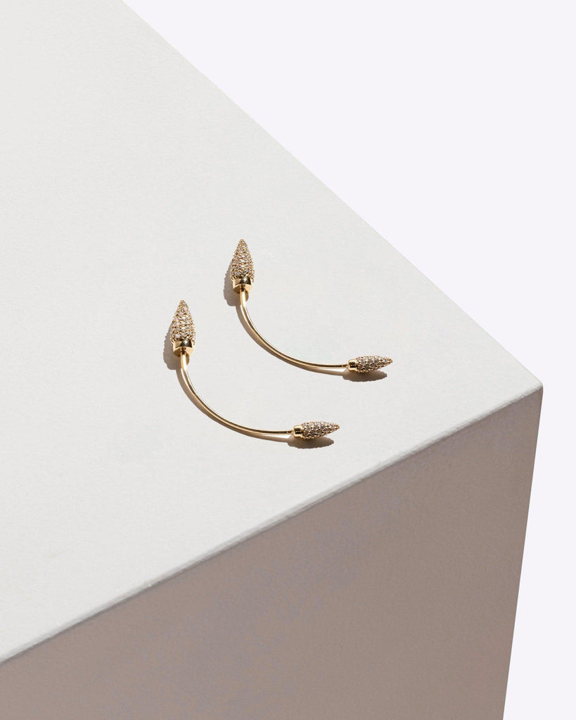 Pave Double Spike Earring