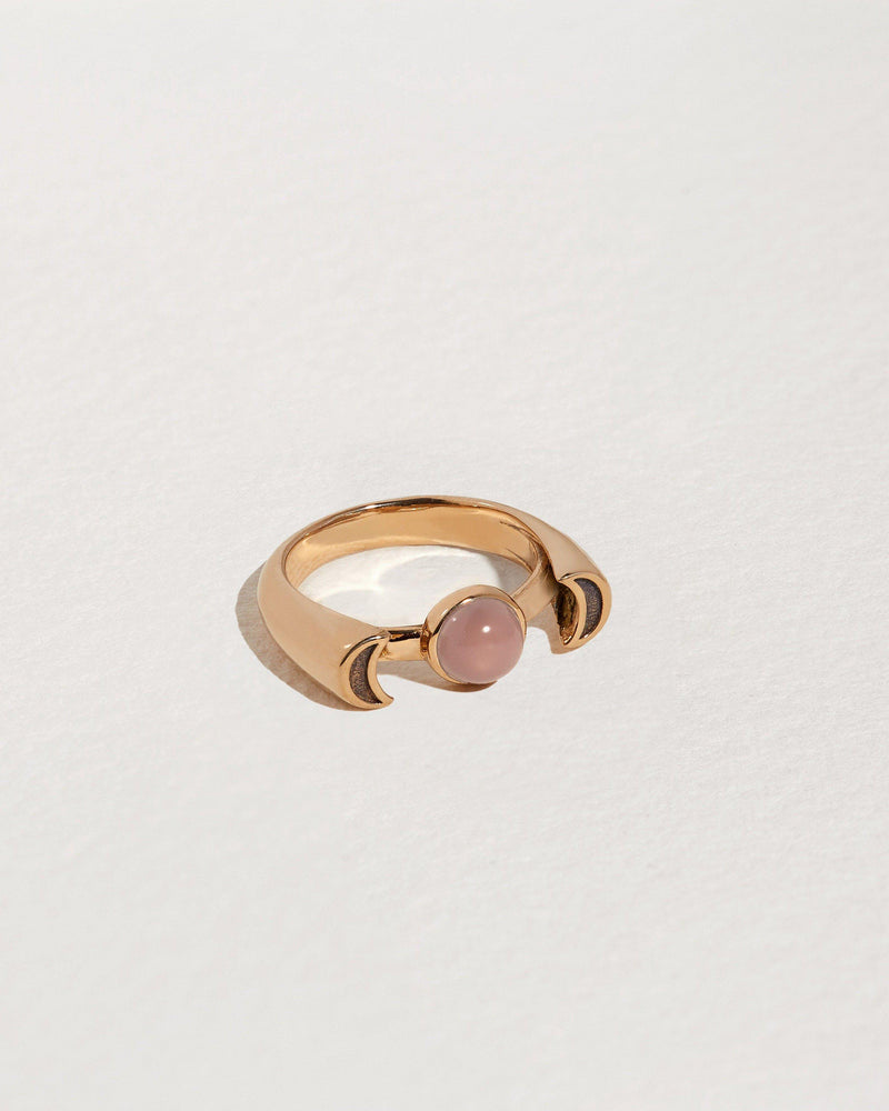 brass luna ring with moonstone