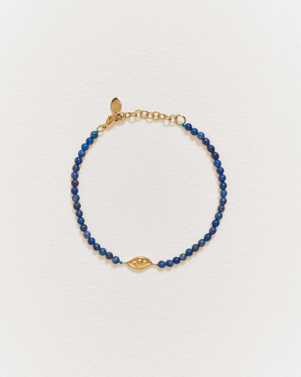 beaded eye bracelet with gold and lapis
