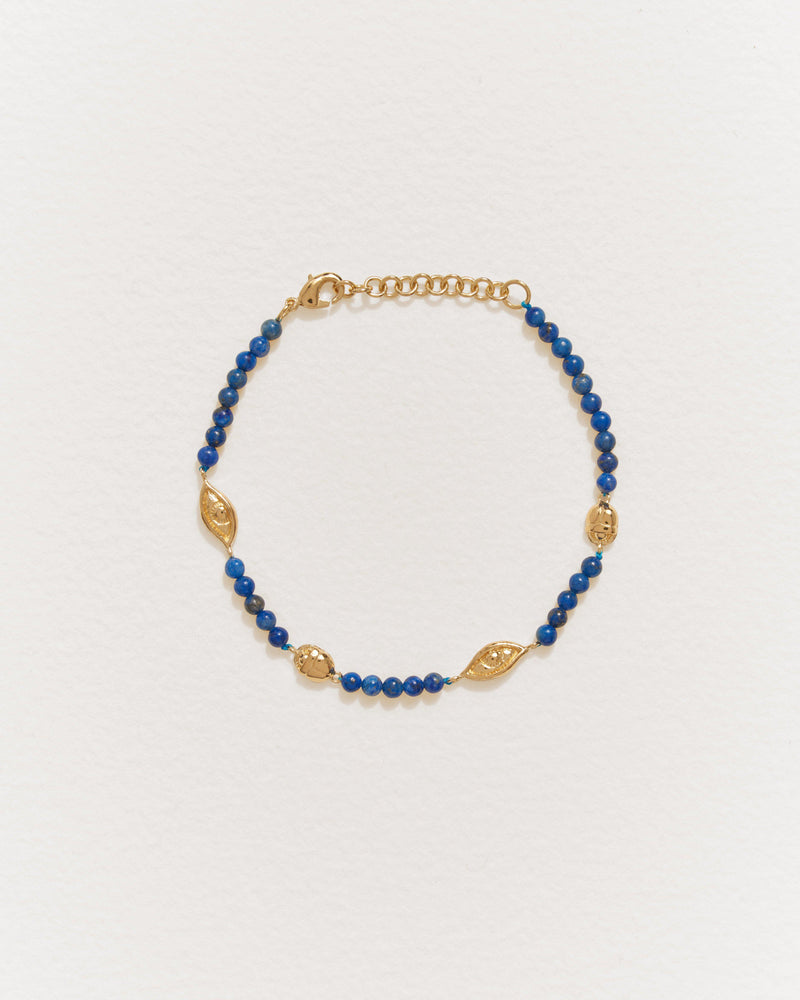 eye line bracelet with 14k gold plate and lapis
