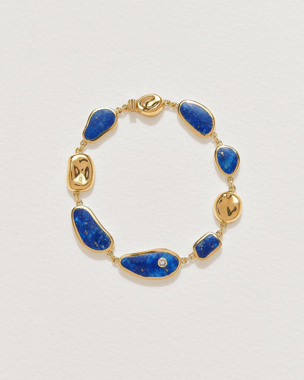 palma bracelet with 14k yellow gold plate and lapis