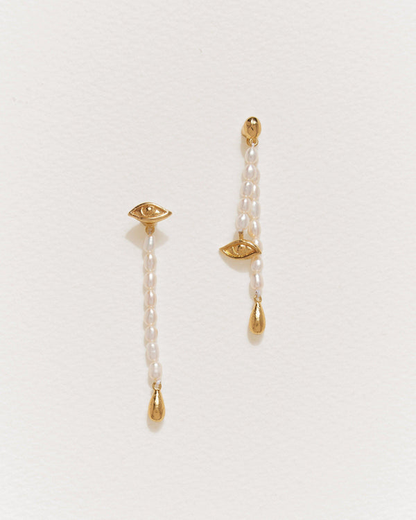 crying eye ear jacket earrings with pearls