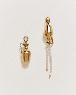 vessel earrings with gold plate over brass and fresh water pearls