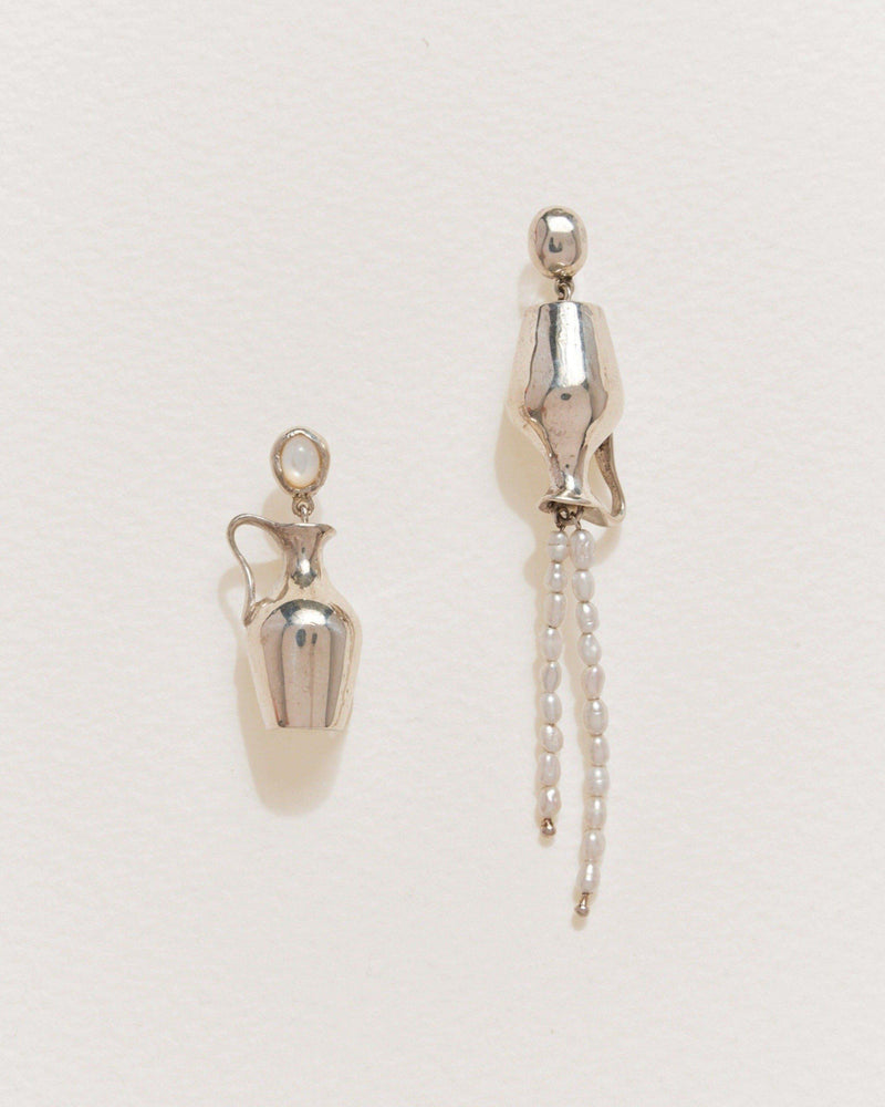 vessel earrings with sterling silver and fresh water pearls