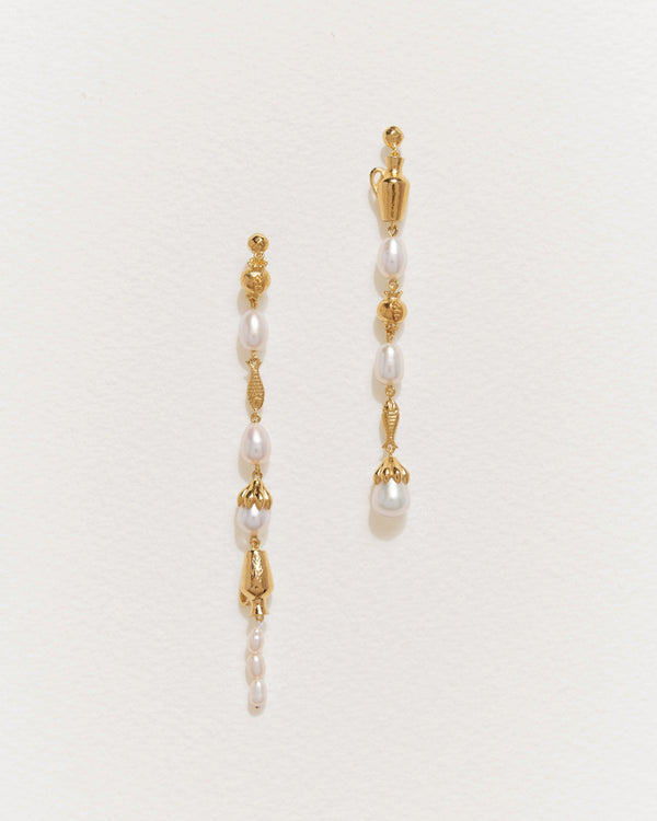 mythologie earrings with pearls and 14k gold plate