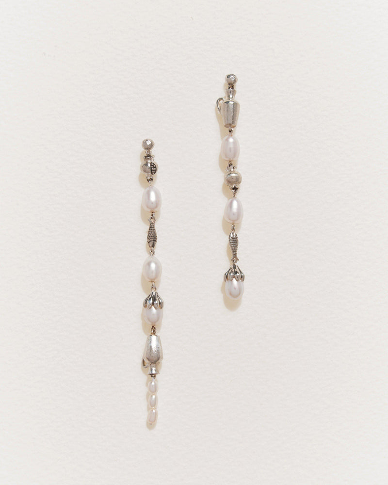 mythologie drop earrings with sterling silver and pearls