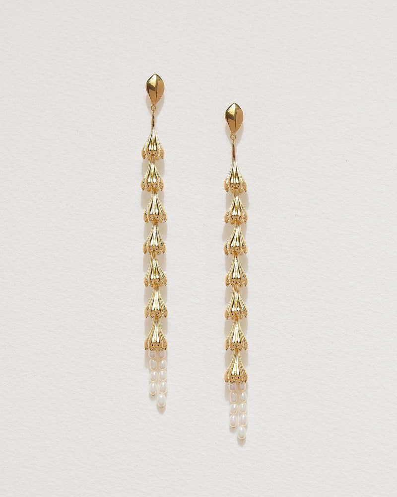 gold plate anemone shoulder duster earrings with pearls