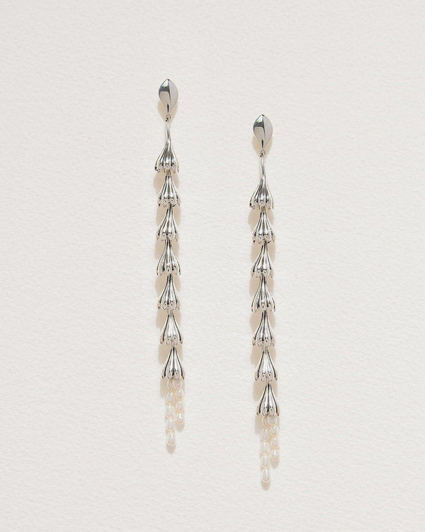 silver anemone shoulder duster earrings with pearls