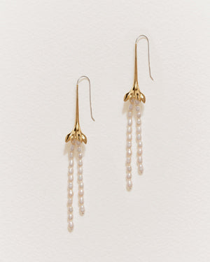 anemone pearl drop earrings with 14k gold plate