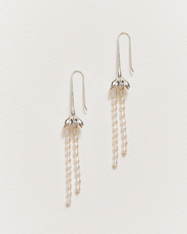 anemone flower pearl drop earrings with sterling silver