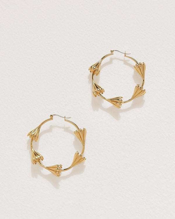 anemone flower hoop earrings