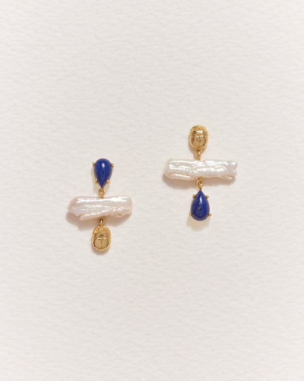 biwa earrings with lapis lazuli and pearl