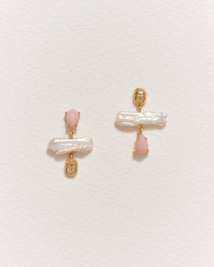 biwa earrings with pink opal, biwa pearls and 14k gold plate
