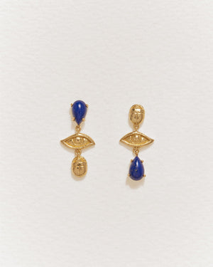 teardrop earrings with lapis and 14k yellow gold plate