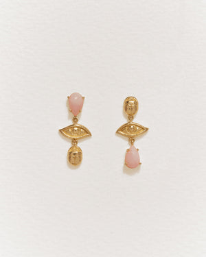 teardrop earrings with pink opal and 14k yellow gold plate