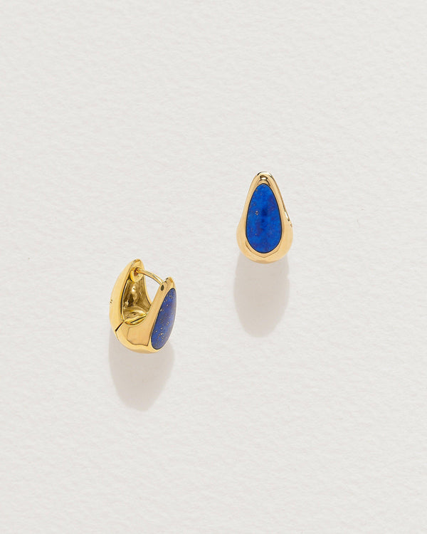 lapis inlay hammered hoops