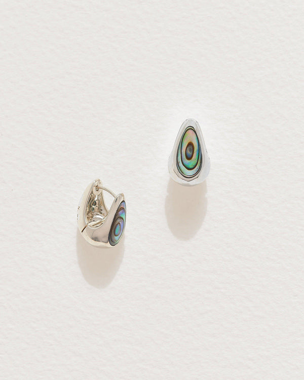 abalone inlay hammered hoops with sterling silver