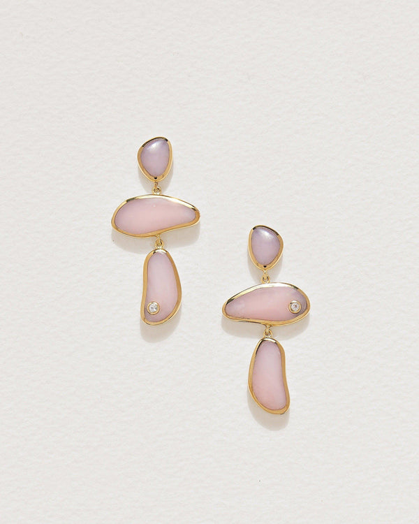 francesca drop earrings with pink opal