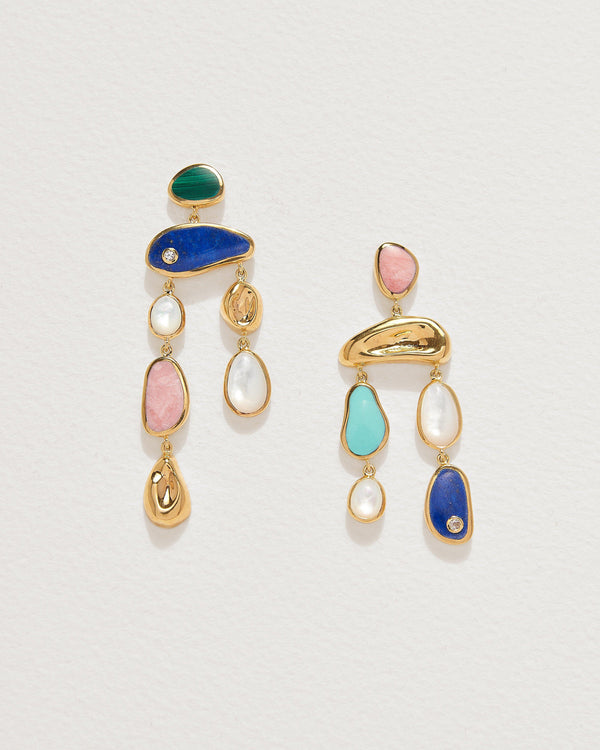 alexander multistone earrings with pink opal, lapis lazuli and turquoise
