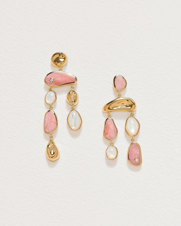 alexander earrings with pink opal and mother of pearl